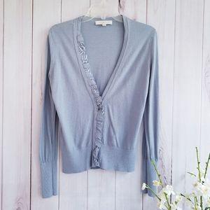 Ann Taylor Loft Long Sleeve Gray Ruffle Cardigan M